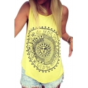 WE LIVE BY THE SUN Letter Printed Round Neck Sleeveless Leisure Tank