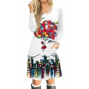 Balloon Building Printed Round Neck Long Sleeve Midi A-Line Dress