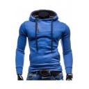 Zippered Long Sleeve Slim Plain Hoodie for Men