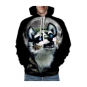 Digital Cute Wolf Moon Printed Long Sleeve Loose Hoodie