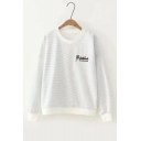 Striped Printed Letter Embroidered Round Neck Long Sleeve Sweatshirt