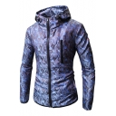 Trendy Camouflage Printed Slim Fit Zip Up Hooded Coat