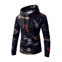 Smoke Floral Tiger Printed Slim Long Sleeve Hoodie