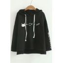 Cat Fish Japanese Printed Loose Long Sleeve Hoodie