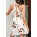 Spaghetti Straps Sleeveless Floral Printed Lace Up Hollow Out Back Ruffle Detail Mini Cami Dress