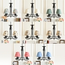 4 Lights Coolie Chandelier Lamp Vintage Animals&Insects Fabric Hanging Light for Living Room