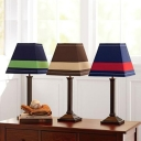 Traditional Trapezoid Table Light Fabric Single Head Reading Light with Brown/Green/Red Shade
