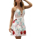 Halter Floral Printed Hollow Out Back Lace Insert Mini A-Line Dress