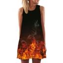 3D Fire Printed Round Neck Sleeveless Mini A-Line Dress