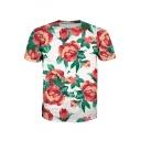 Chic Digital Floral Printed Round Neck Short Sleeve Tee