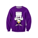 Cartoon Cup Printed Round Neck Long Sleeve Sweatshirt