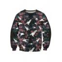 Floral Crane Printed Round Neck Long Sleeve Sweatshirt