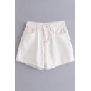 Hot Sale Raw Hem Plain Zip Fly Denim Shorts
