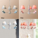 3/5 Lights Tapered Chandelier with Rocking Horse Baby Kids Room Blue/Pink Fabric Shade Hanging Lamp