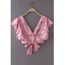 Chic V Neck Floral Printed Ruffle Detail Short Sleeve Bow Tie Hem Crop Blouse