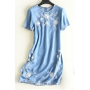 Floral Embroidered Round Neck Short Sleeve Midi A-Line Denim Dress