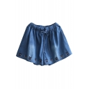 Cute Cat Embroidered Drawstring Waist Loose Denim Culottes