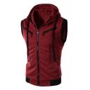 Zip Up Sleeveless Zipper Embellished Plain Vest Coat