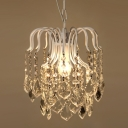 Vintage Pendant Chandelier 1 Light Crystal Ball White Crystal Pendant Lighting