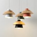 Wooden Coolie Drop Light Modern Fashion Colorful 1 Light Pendant Light for Bedroom Foyer