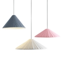Resin Umbrella Shade Lighting Fixture Nordic Style Bedroom 1 Head Hanging Lamp in Blue/Pink/White