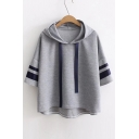 Contrast Striped Short Sleeve leisure Dip Hem Hooded Tee