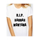 RIP Letter Printed Round Neck Short Sleeve Tee