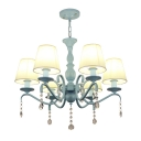 Nautical Chandelier 6 Light Shaded Chandelier Light with Crystal Balls in Teal Finish