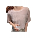 Unique Hollow Out Bow Tie Back Round Neck Short Sleeve Tee