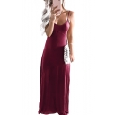 Comfort Spaghetti Straps Plain Sleeveless Maxi Cami Dress