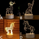 3D Effect Acrylic Deer/Cat/Unicorn/Horse LED Night Light Button Switch/USB Touch/Remote Control