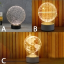 3D Creative Globe Acrylic Night Light Decorative Table Lamp with Wooden Base 3 Styles for Option
