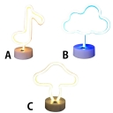 New Musical Note/Cloud/Mushroom Neon Light Kids Night Light with Plastic Base