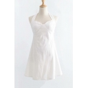 Halter Sleeveless Plain Hollow Out Back Button Embellished Mini A-Line Dress