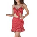 Spaghetti Straps Sleeveless Polka Dot Printed Hollow Out Front Ruffle Detail Mini Cami Dress