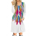 Feather Printed Round Neck Long Sleeve Midi A-Line Dress