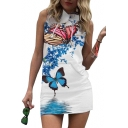 Butterfly Printed Sleeveless Mini Hooded Pencil Dress