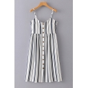 Spaghetti Straps Sleeveless Button Down Striped Printed Midi Cami Dress