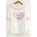 Cartoon Girl Heart Printed Round Neck Long Sleeve Leisure Sweatshirt
