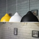 Simple Industrial Style Office Single Pendant Light with Dome Shade in Various Colors