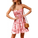 Knotted Front Floral Printed Spaghetti Straps Sleeveless Mini Cami Dress