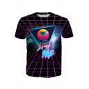 STAY RAD Letter Digital Triangle Coconut Tree Printed Round Neck Short Sleeve Tee
