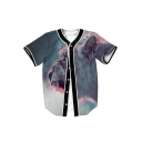 Lion Printed V Neck Short Sleeve Button Down Baseball Tee