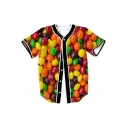 Candy Printed Button Down Short Sleeve V Neck Baseball Tee