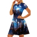 Galaxy Printed Round Neck Short Sleeve Slim Mini A-Line Dress