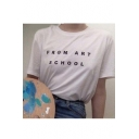 FROM ART SCHOOL Letter Printed Round Neck Short Sleeve Tee