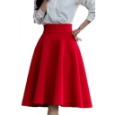 High Waist Plain Zipper Fly Midi A-Line Skirt