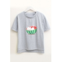 Watermelon Cat Japanese Printed Round Neck Short Sleeve Tee