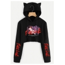 Cat's Ears Embellished Character Letter Printed Long Sleeve Crop Hoodie