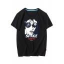 SPACE Letter Character Printed Round Neck Short Sleeve Tee